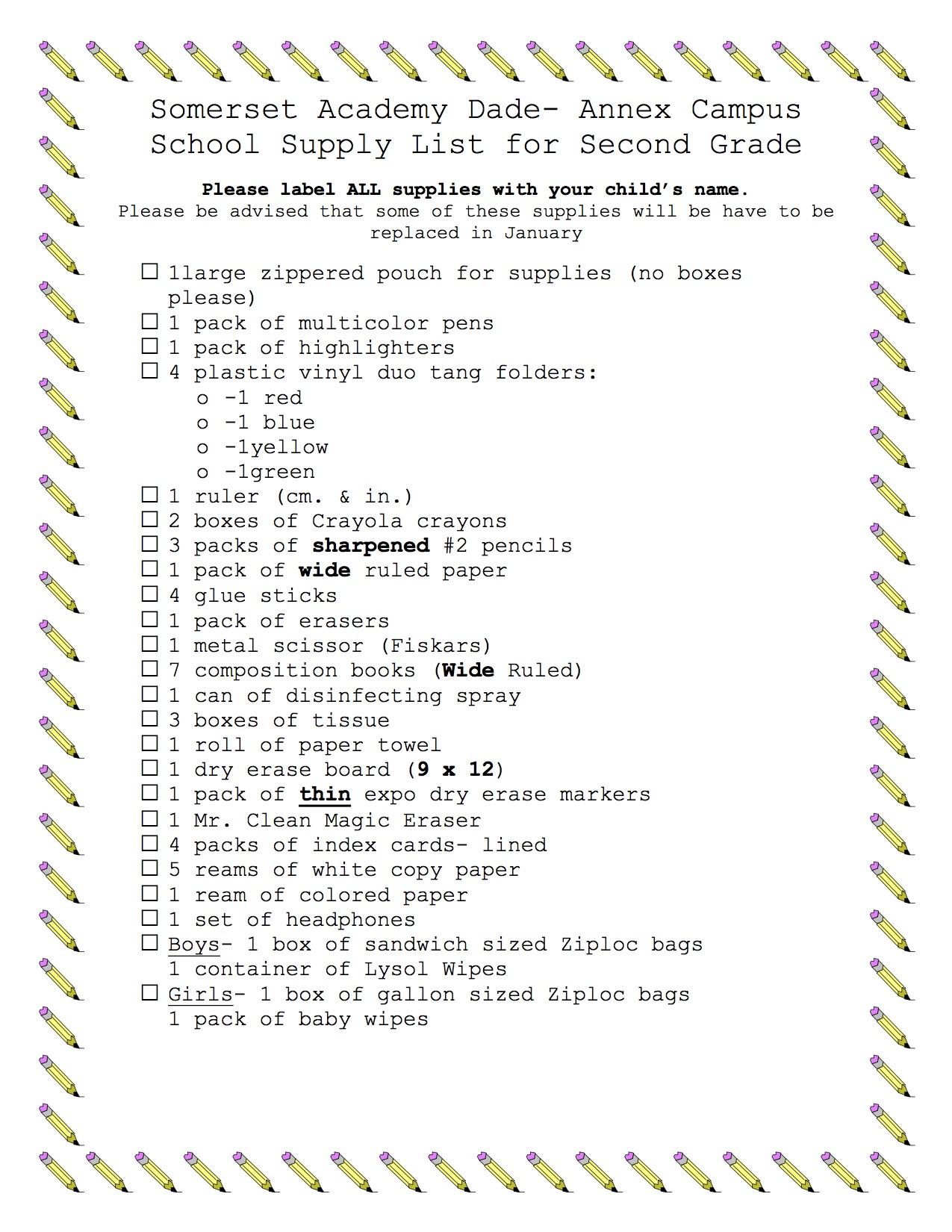 Somerset Academy Dade- Annex Campus School Supply List for